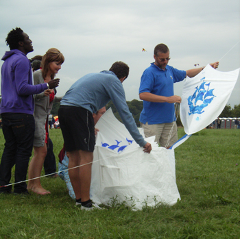 Launching the Blue Peter Kites