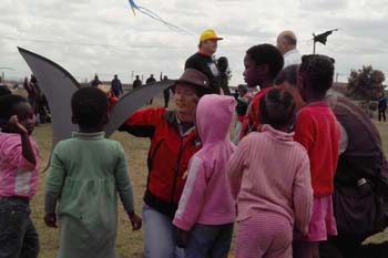 Sara with the local children in Khayelitsha